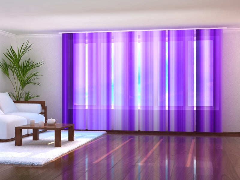 Set of 6 Panel Curtains Violet Lines