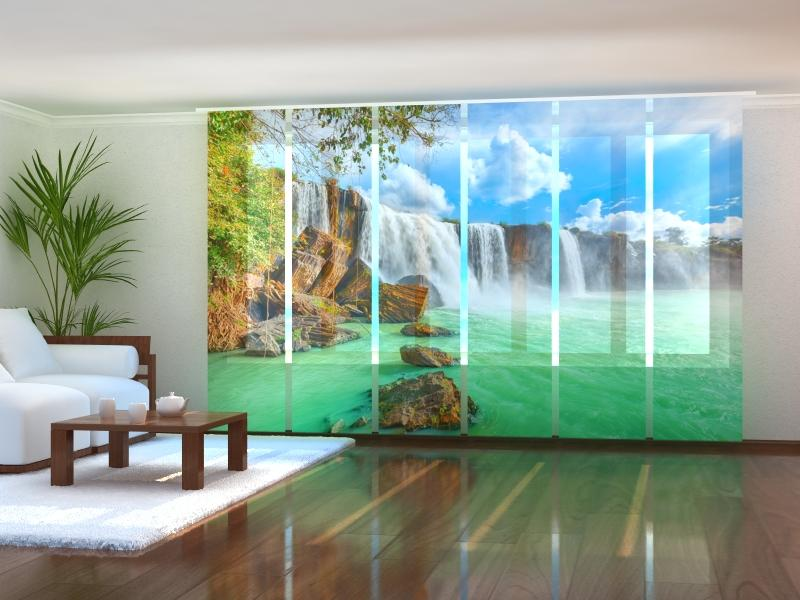 Set of 6 Panel Curtains Waterfall in Vietnam - Wellmira