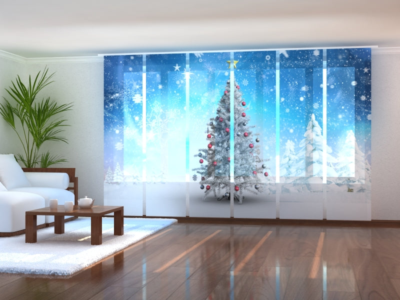 Set of 6 Panel Curtains White Christmas Trees