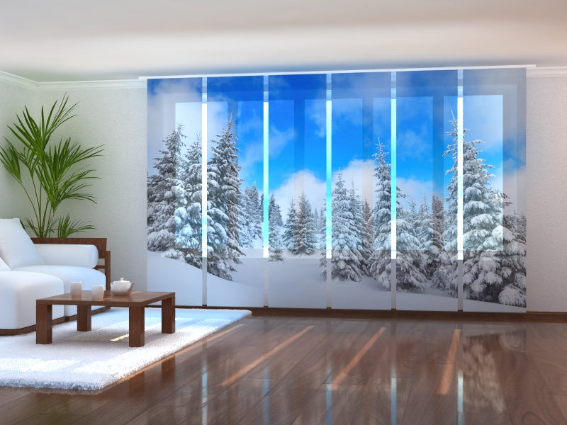 Set of 6 Panel Curtains Winter in the Forest