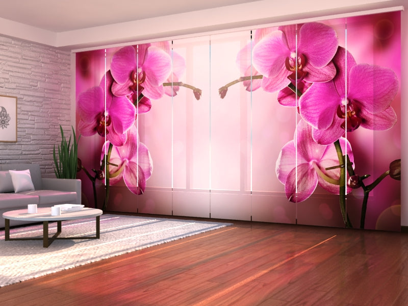Set of 8 Panel Curtains Purple Orchid
