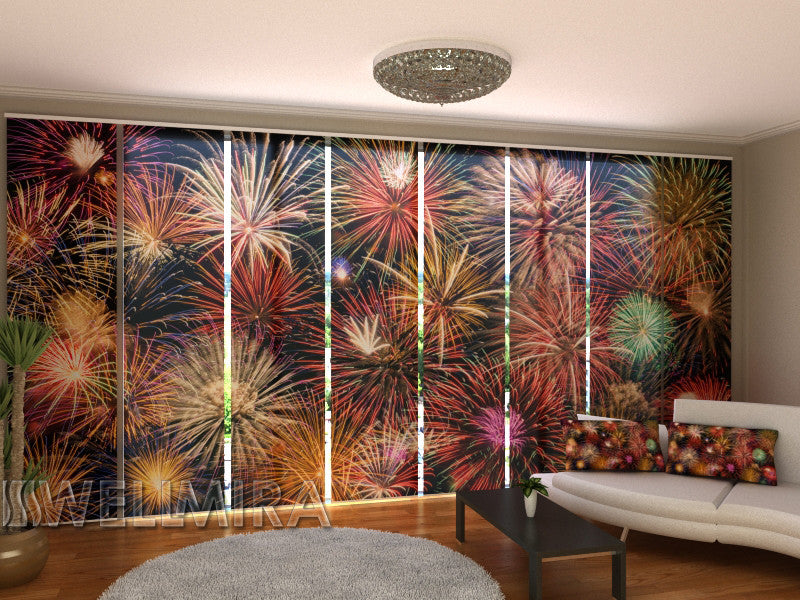 Set of 8 Panel Curtains Big Fireworks - Wellmira