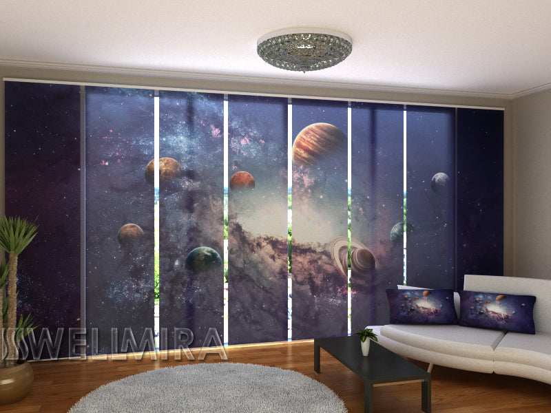 Set of 8 Panel Curtains Creating Planets - Wellmira