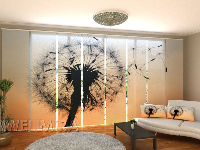 Set of 8 Panel Curtains Dandelion in the wind - Wellmira
