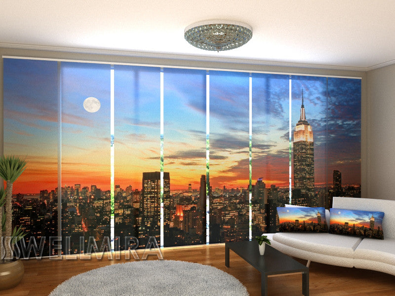 Set of 8 Panel Curtains Sunrise in New York - Wellmira
