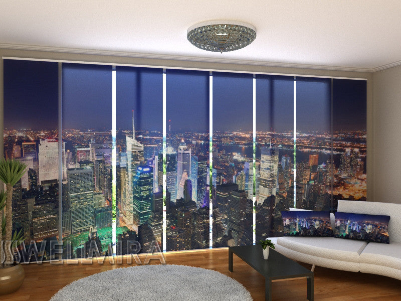 Set of 8 Panel Curtains Times Square Panorama - Wellmira