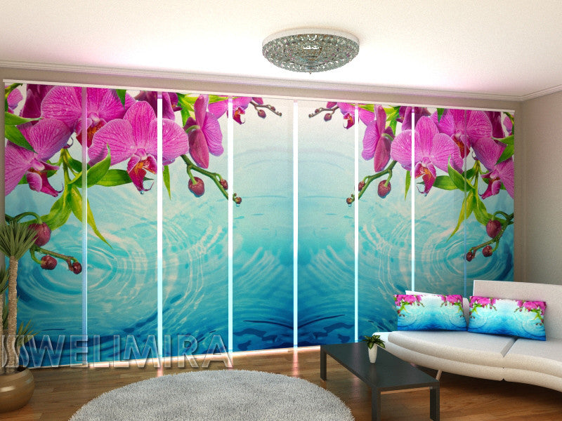 Set of 8 Panel Curtains Amazing Orchid - Wellmira