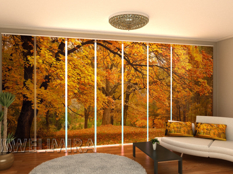 Set of 8 Panel Curtains Autumn in the Park - Wellmira