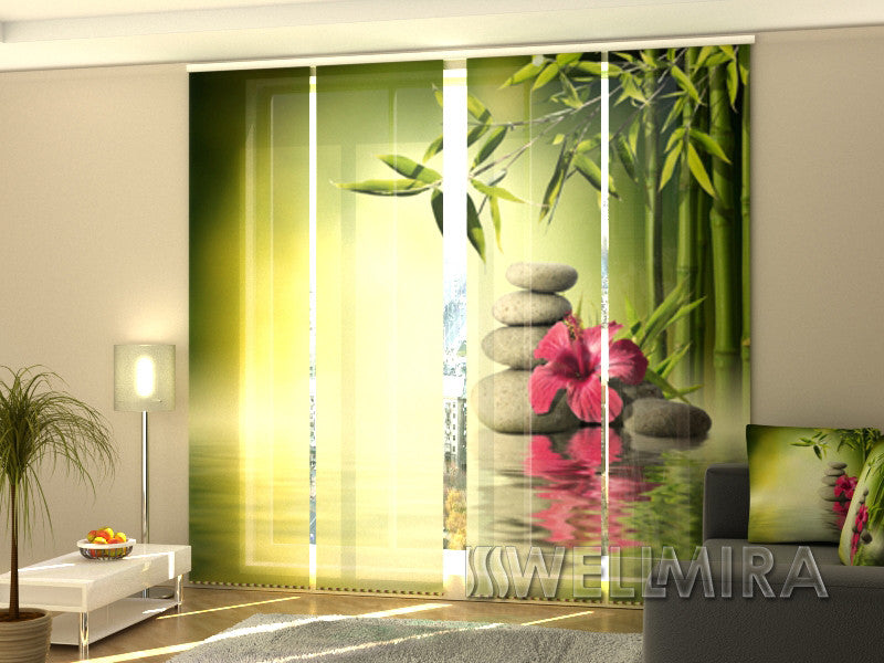 Set of 4 Panel Curtains Bamboo Leaves - Wellmira