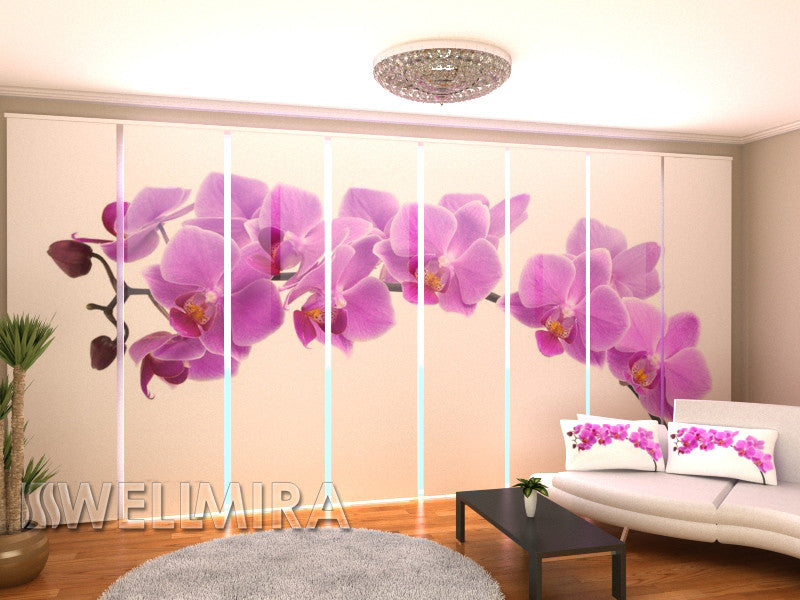 Set of 8 Panel Curtains Big Orchid - Wellmira
