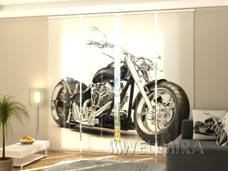 Set of 4 Panel Curtains Black Motorbike - Wellmira
