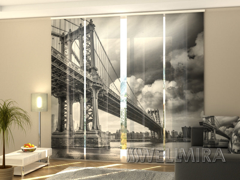 Set of 4 Panel Curtains Black and White Bridge - Wellmira