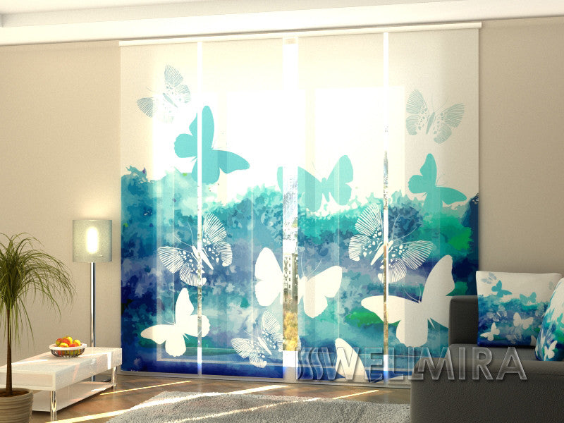 Set of 4 Panel Curtains Blue Butterfly - Wellmira