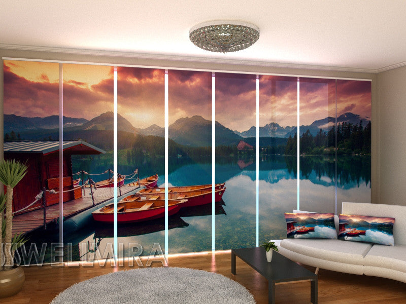 Set of 8 Panel Curtains Boats near the Pier - Wellmira