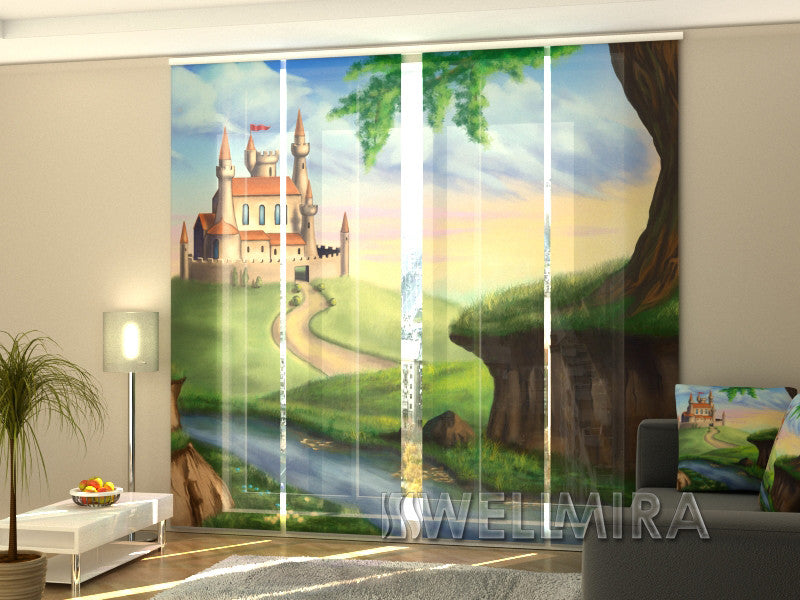 Set of 4 Panel Curtains Castle for Princess - Wellmira