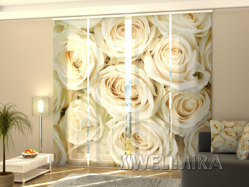 Set of 4 Panel Curtains Champagne Roses 2 - Wellmira
