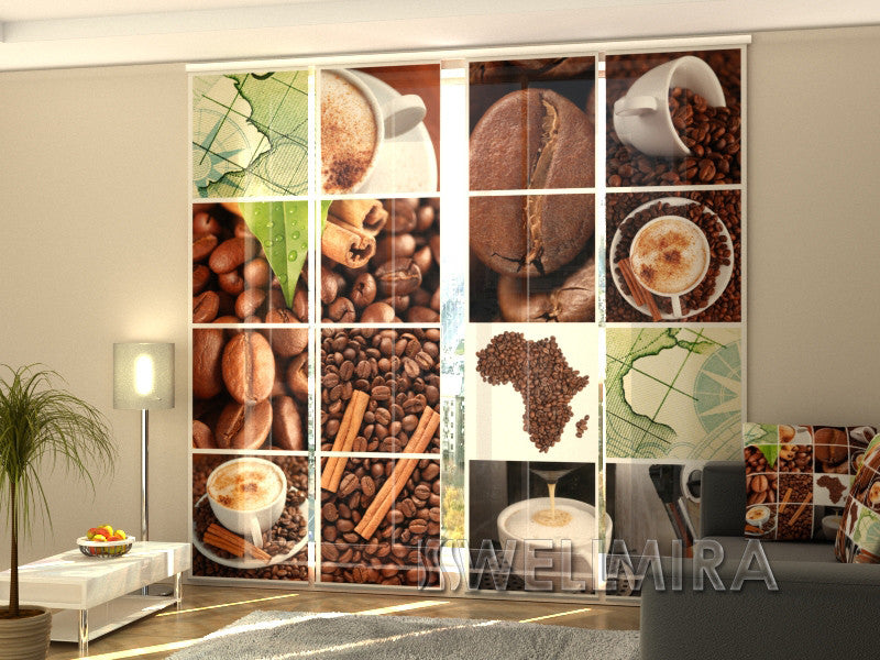 Set of 4 Panel Curtains Coffee Africa - Wellmira