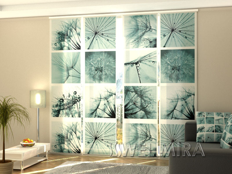 Set of 4 Panel Curtains Dandelion - Wellmira