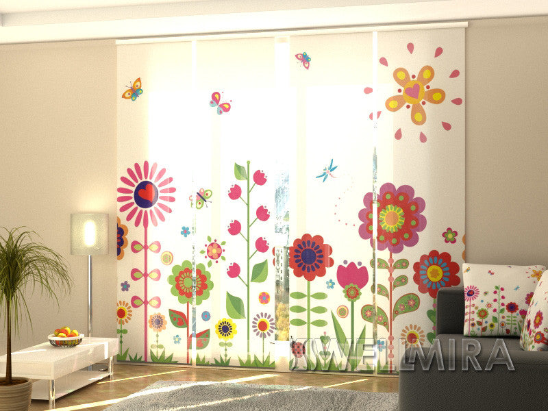 Set of 4 Panel Curtains Flowers and Sun - Wellmira