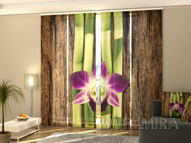 Set of 4 Panel Curtains Four Shoots of Bamboo - Wellmira