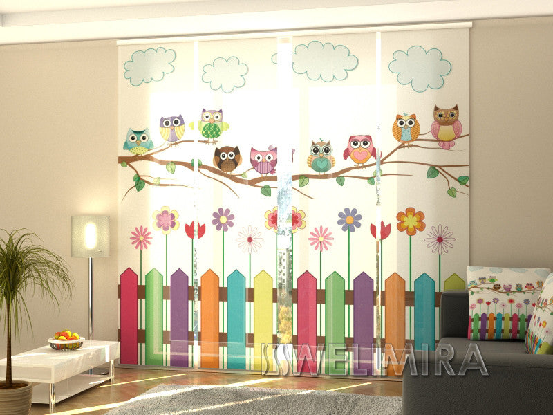 Set of 4 Panel Curtains Funny Owl - Wellmira