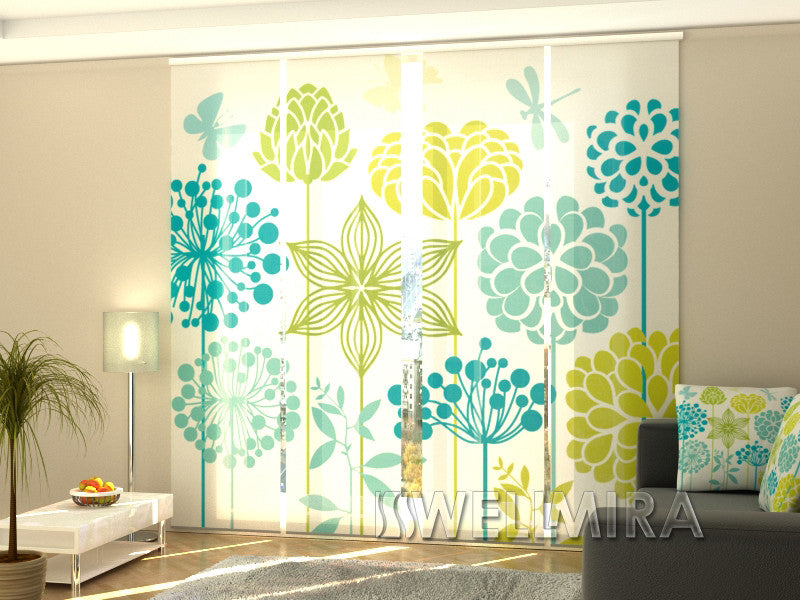 Set of 4 Panel Curtains Graphic Flowers - Wellmira