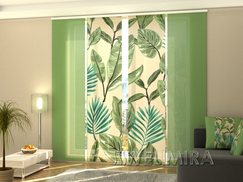 Set of 4 Panel Curtains Green Leaves - Wellmira