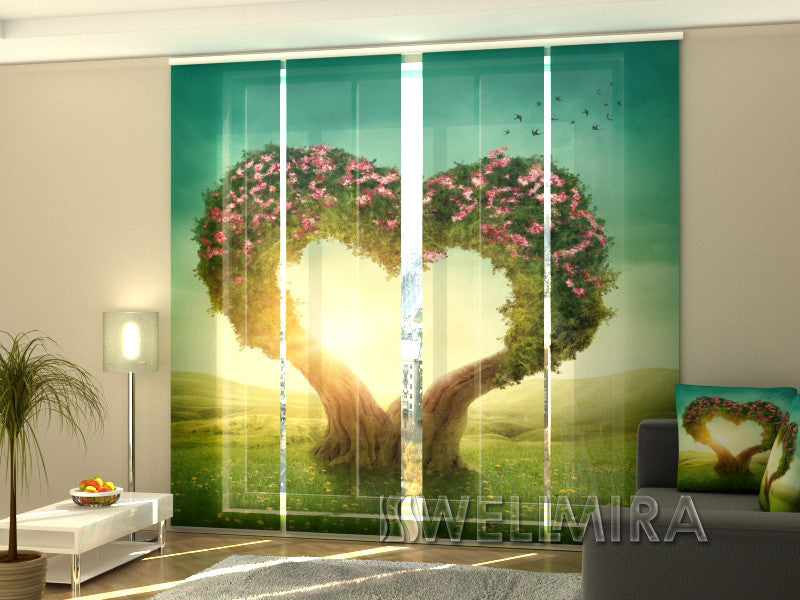 Set of 4 Panel Curtains Heart Tree - Wellmira
