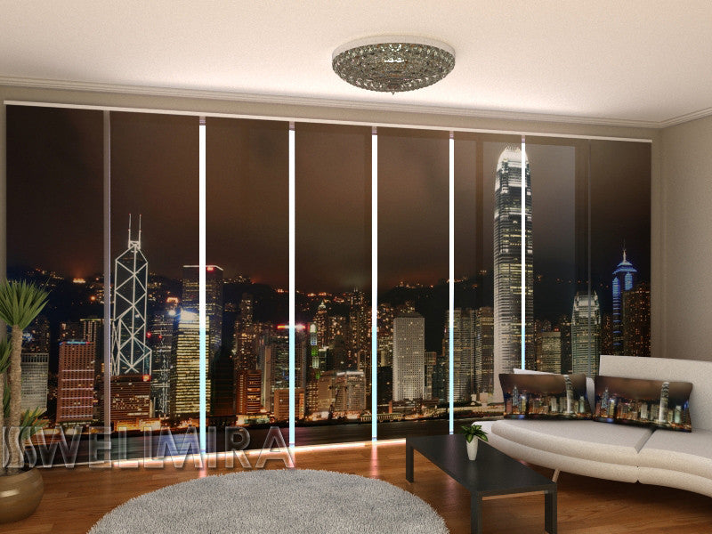 Set of 8 Panel Curtains Hong Kong Skyline - Wellmira