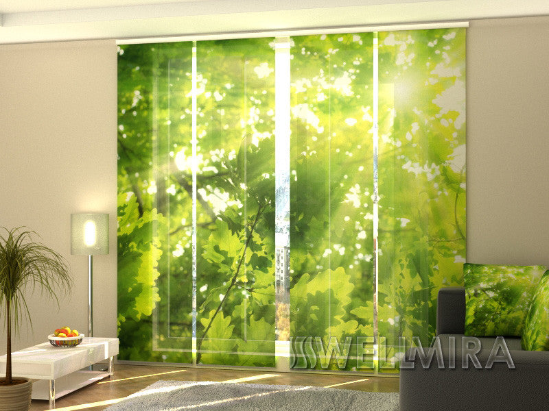 Set of 4 Panel Curtains Leaves 2 - Wellmira