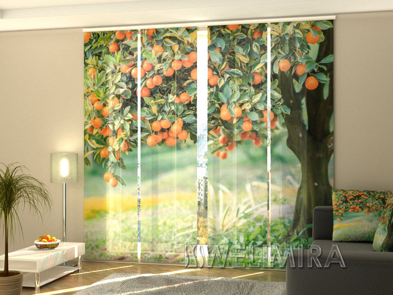 Set of 4 Panel Curtains Mandarin Tree - Wellmira