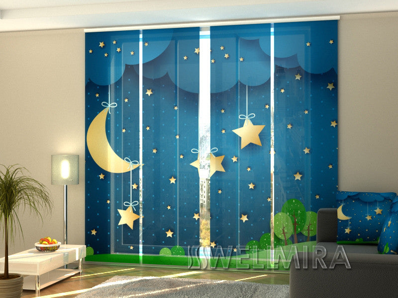 Set of 4 Panel Curtains Moon and Stars - Wellmira