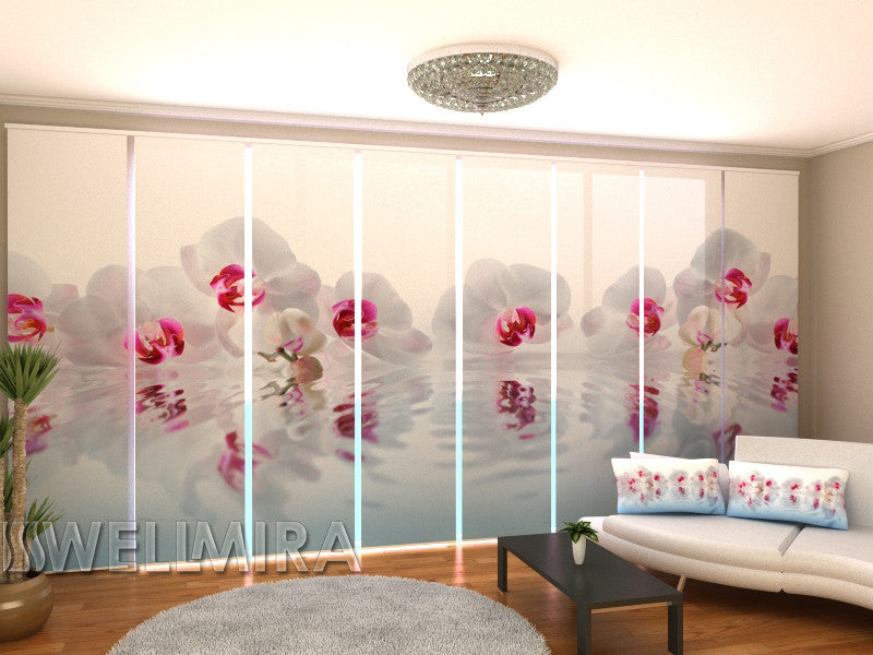 Set of 8 Panel Curtains Music Orchids - Wellmira