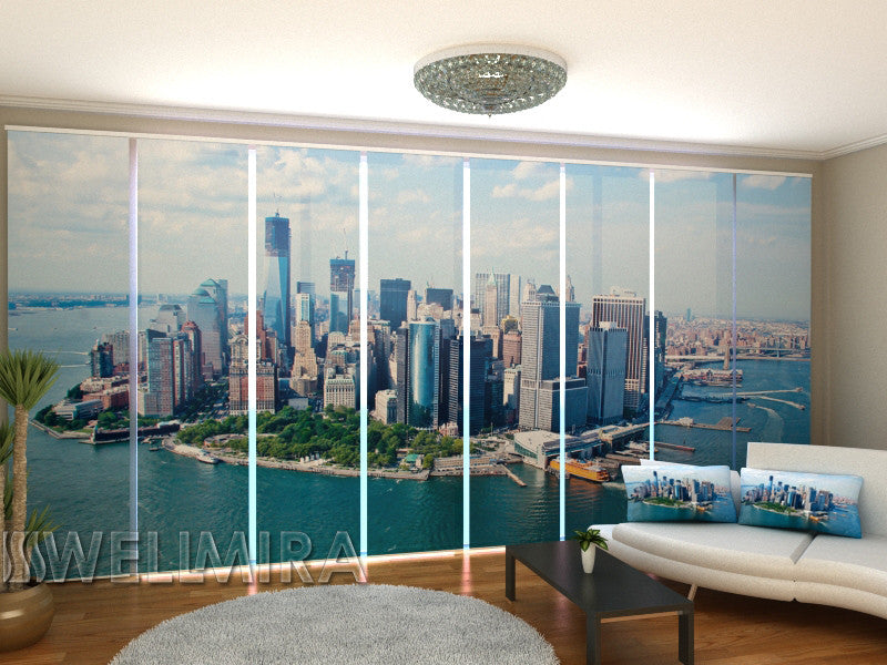 Set of 8 Panel Curtains New York View from the Clouds - Wellmira