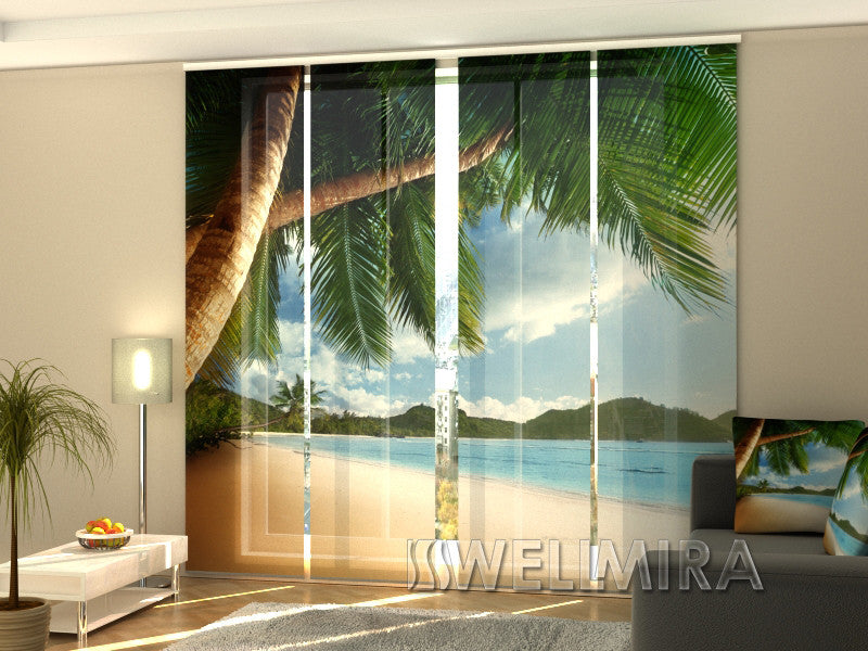 Set of 4 Panel Curtains Ocean and Palms - Wellmira