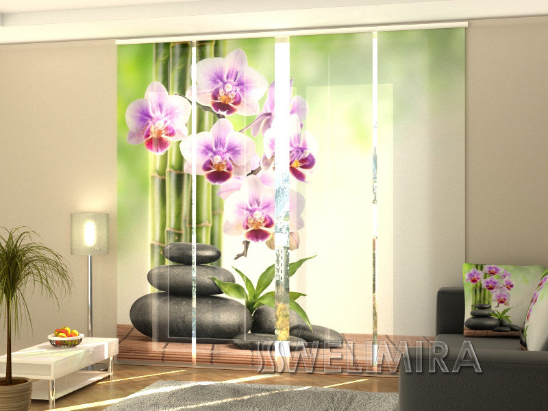 Set of 4 Panel Curtains Orchids and Stones - Wellmira