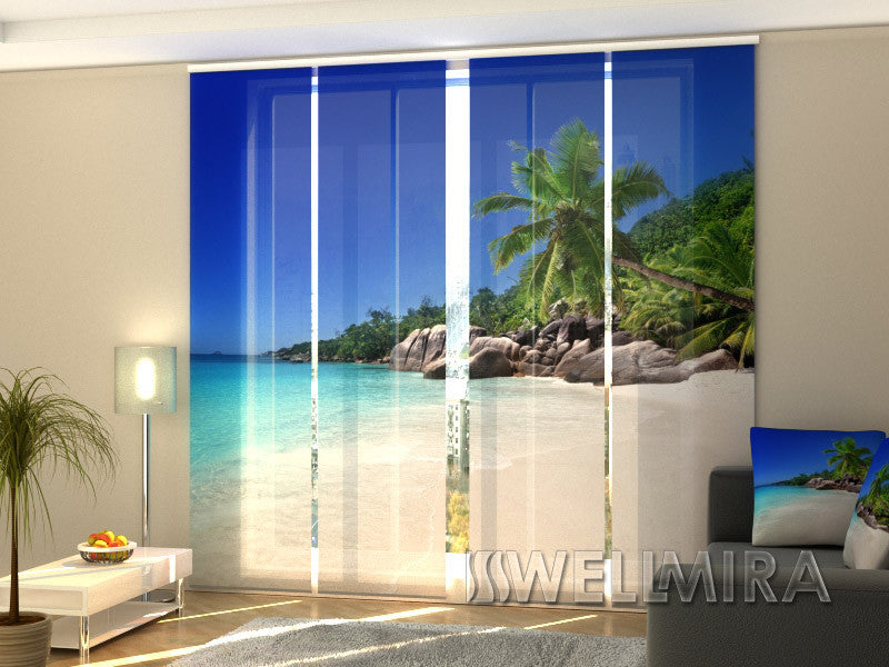 Set of 4 Panel Curtains Palm Tree on the Beach - Wellmira