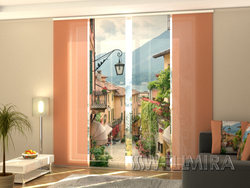 Set of 4 Panel Curtains Picturesque town of Italy - Wellmira