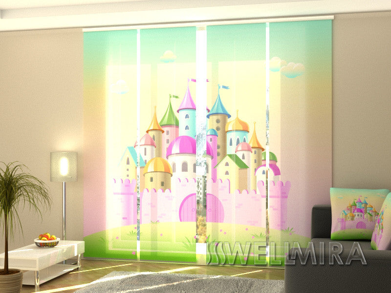 Set of 4 Panel Curtains Pink Castle - Wellmira