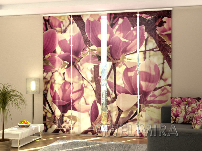Set of 4 Panel Curtains Pink Magnolias - Wellmira