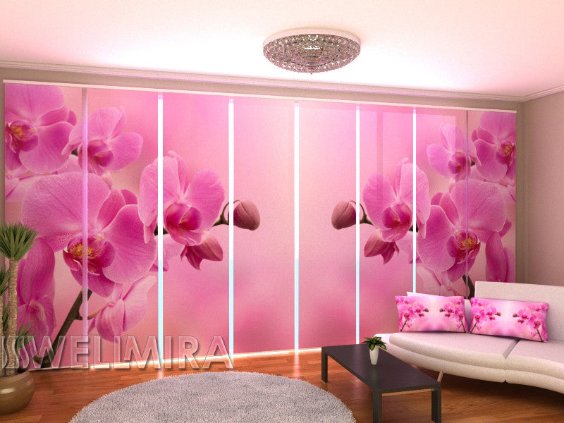 Set of 8 Panel Curtains Pink Orchid 2 - Wellmira