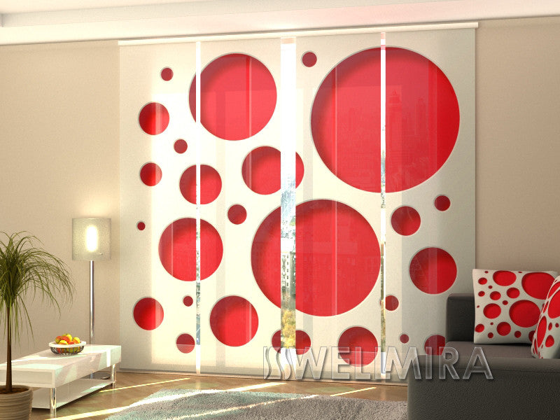 Set of 4 Panel Curtains Red Style - Wellmira