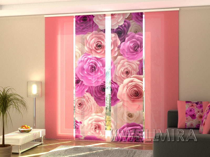Set of 4 Panel Curtains Roses Carolina - Wellmira