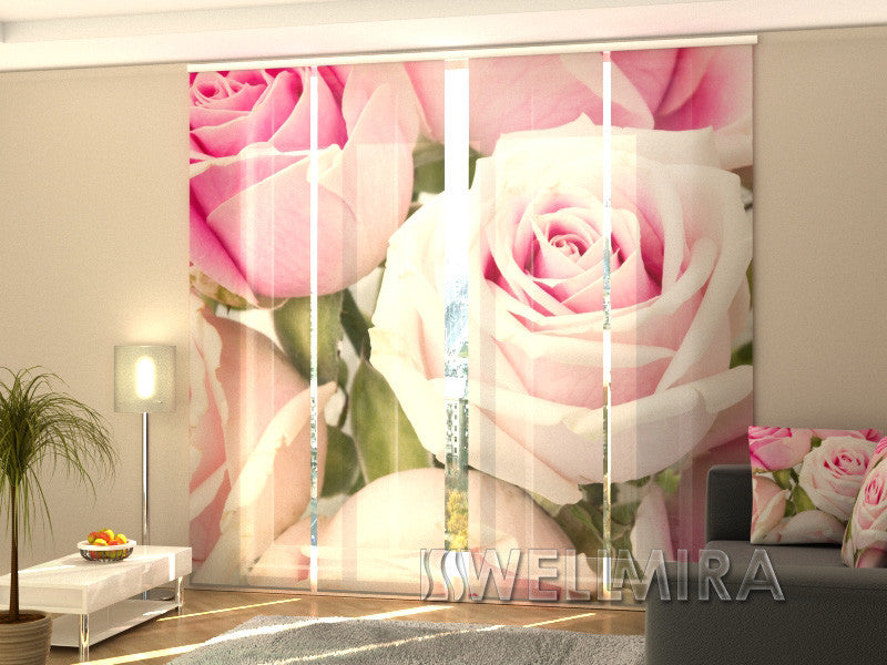Set of 4 Panel Curtains Royal Roses - Wellmira