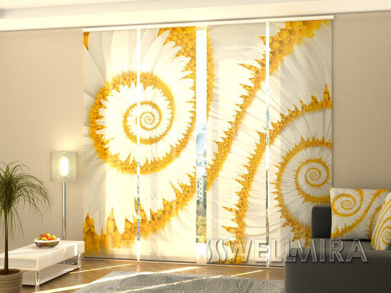 Set of 4 Panel Curtains Snail Camomiles - Wellmira