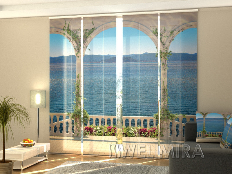 Set of 4 Panel Curtains Staircase to the Sea - Wellmira