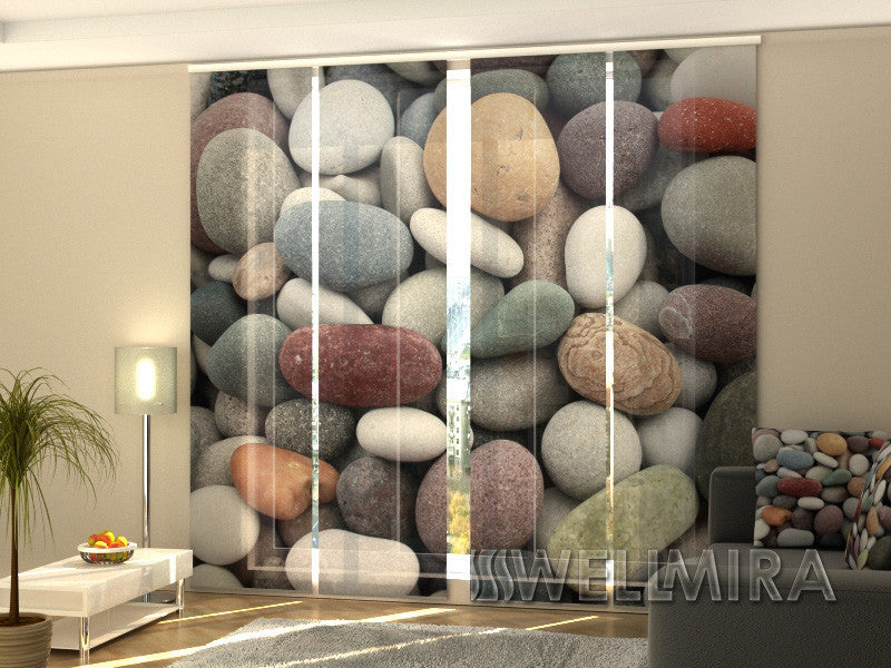 Set of 4 Panel Curtains Stones - Wellmira