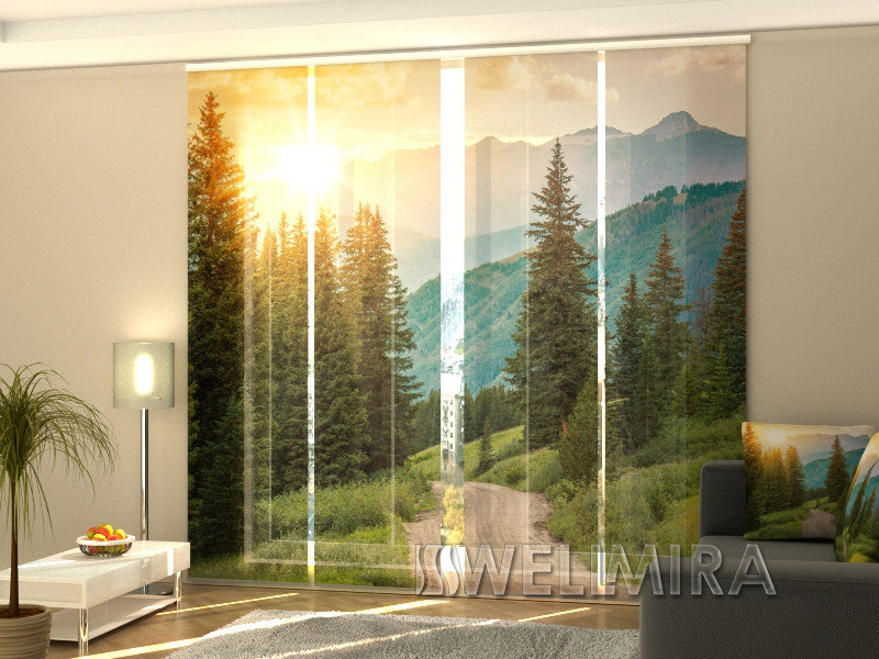 Set of 4 Panel Curtains Sun and Mountains - Wellmira