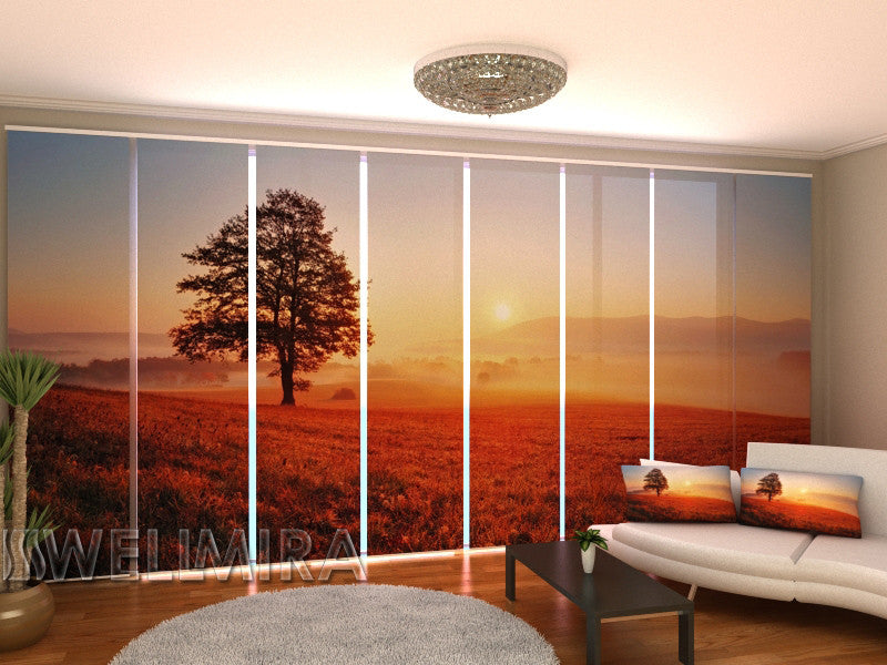 Set of 8 Panel Curtains Sunset and Tree - Wellmira