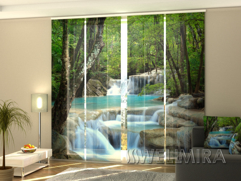 Set of 4 Panel Curtains Thai waterfall in Spring - Wellmira